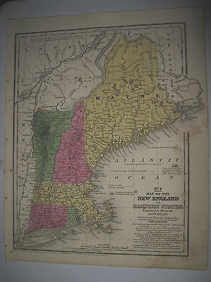 1839 1840 Hand Colored Map New England Eastern States Mitchell's No. 6 ME VT NH