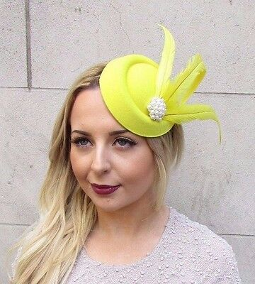f7c5fe738e5 Yellow Statement Feather Pillbox Hat Hair Fascinator Races Vtg Headpiece  2952