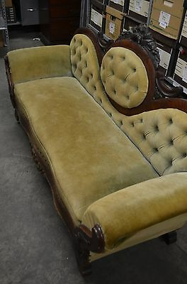 Antique Velvet Victorian medallion button tuck sofa couch