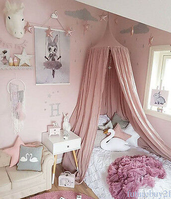 Children Bed Canopy Round Dome Mosquito Net Hanging Curtain Kid Bedroom MH78TR