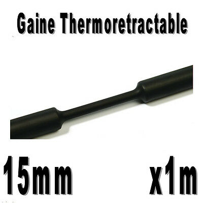 Gaine Thermo Rétractable 2:1 - Diam. 15 mm - Noir - 1m