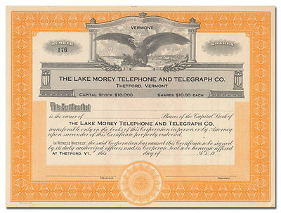 Lake Morey Telephone and Telegraph Company Stock Certificate (Vermont)