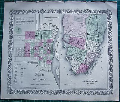 1855 Large Antique Map-Colton- Town Plans, Savannah, Charleston