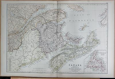 1882 Large Antique Map - Canada, Province Of Quebec, Nova Scotia, New Brunswick