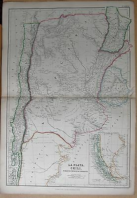 1860  Large Antique Map - La Plata, Chile, Paraguay, Uruguay & Patagonia