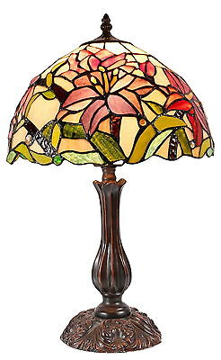 Amazing Oriental Lily Style Stained Glass Leadlight Tiffany Bedside Lamp