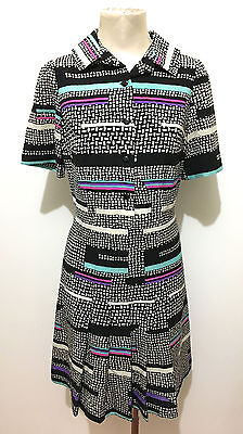 CULT VINTAGE '70 Abito Vestito Donna Lana Optical Wool Woman Dress Sz.S - 42