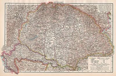 1896  Large Antique  Map : Hungary