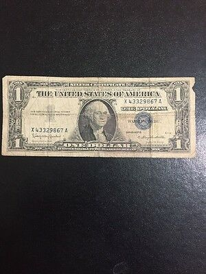 1957 B Series Silver Certificate Blue Seal Vintage Piece US Currency $1 Dollar