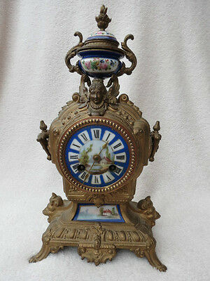 Antique French Gilt Spelter And  Porcelain Mounted Clock For Spares Repair