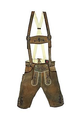 German bavarian authentic lederhosen men greenish brown suede leather
