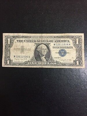 1957 A Series Silver Certificate Blue Seal Vintage Piece US Currency $1 Dollar