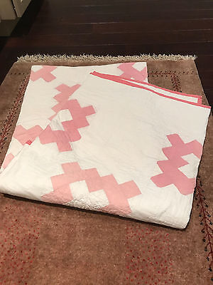 Antique Vintage White And Pink Quilt 80 X 74