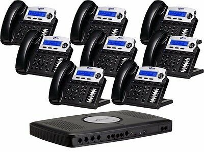 XBlue 6-Line Small Office Phone System with 6 Charcoal X16 Telephones VG Cond.