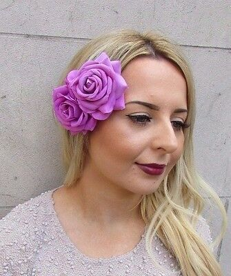 Large Purple Pink Double Rose Flower Hair Clip Rockabilly 1950s Fascinator 2957
