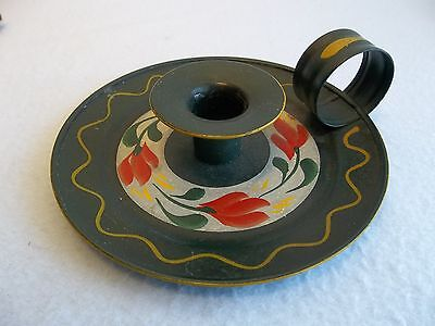 Vintage Primitive Hand Painted Toleware Metal Candle Holder