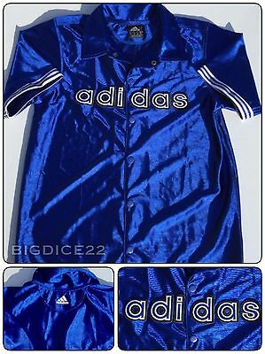 Adidas Blue Jersey Snap Warm Up Jacket Block Spell Out Shirt Youth L 14/16