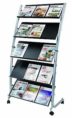 Alba Large Mobile Literature Brochure Stand Metallic Gray and Black (DD5GM)