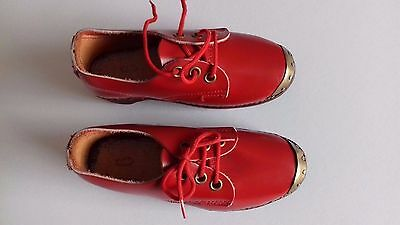 Vintage Pair Of Children's Red Clogs Size 6