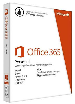 MS Office 365 Personal with full suite for 1 PC or Mac, and 1 tablet or iPad