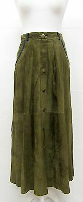 VINTAGE 70s OLIVE GREEN SOFT SUEDE BUTTON FRONT BAVARIAN MIDI SKIRT SIZE 10