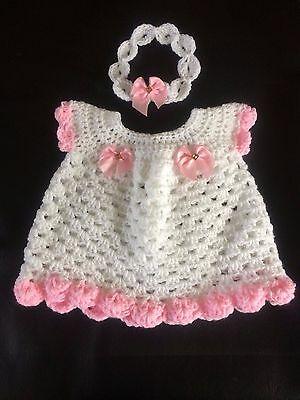 Handmade Crochet Baby Girl Dress Headband Set Satin Bow White Pink 0-3 month