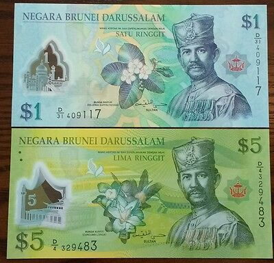 Brunei 1 and 5 Ringgit, 2011-2013, New, Polymer, UNC