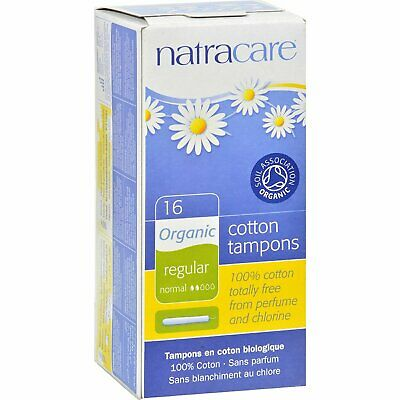 New Natracare Organic Regular Cotton Tampons With Applicator 16 Ct (Pack of 3)