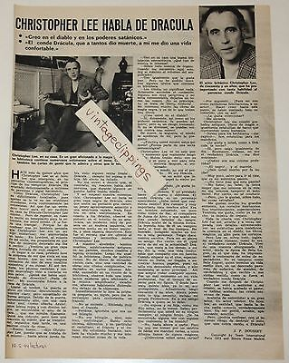 CHRISTOPHER LEE 1974 interview spain magazine article photos Dracula actor