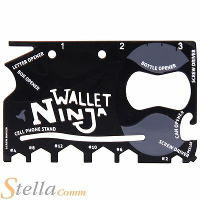 Wallet Ninja 18 in 1 Credit Card Pocket Multi-Tool DIY Bottle Opener Screwdriver