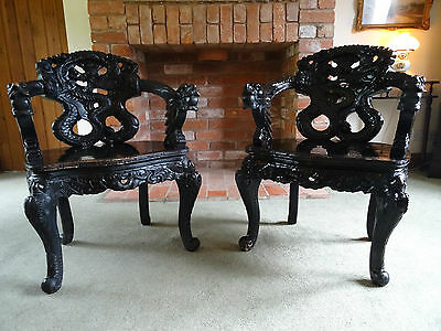 PAIR OF 19thc PERIOD ANTIQUE CHINESE DRAGON CARVED PADAUK ARMCHAIRS - 2 MORE ?