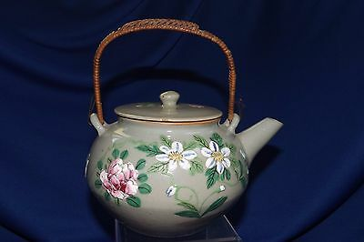 """Antique Banko Pottery Heavy Enamel Decorated Signed Teapot 6 1/2"""" Side to Spout"""