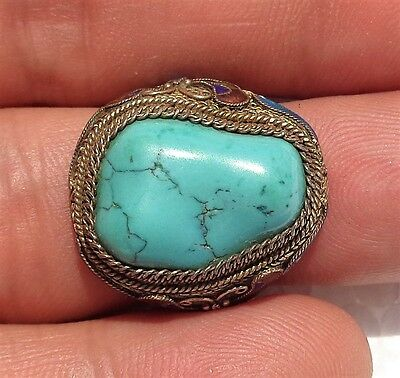 CINA (China): Old Chinese silver filigree enameled ring with Turquoise