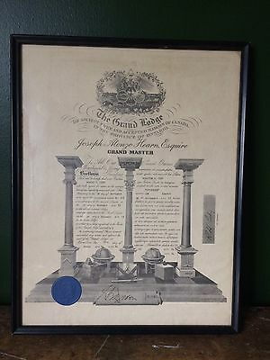 Vintage Canadian Freemason Grand Lodge Ontario Grand Master Certificate 1954