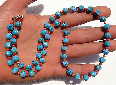 Chinese necklace made with red coral and turquoise carved bead - melon shape