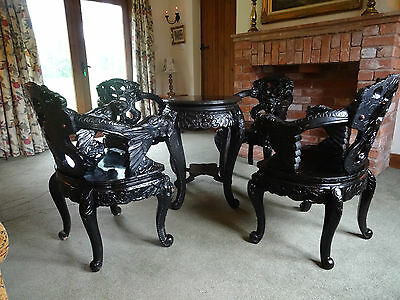 SUPERB 19thc PERIOD ANTIQUE CHINESE DRAGON CARVED TABLE & 4 MATCHING ARMCHAIRS