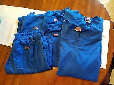 Blue Scrubs, 6 Pieces (2 tops/4 bottoms) Used. Size XS (see description)