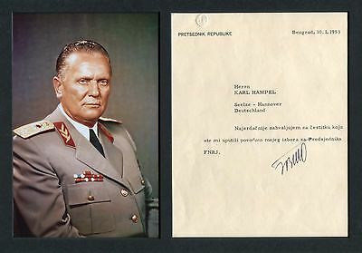 Josip Broz TITO Yugoslav autograph, typed letter signed & mounted