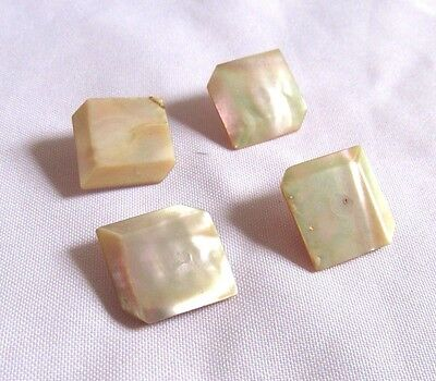 """Lot of 4 Vintage Irridescent Creamy Mother of Pearl 3D Square 7/8"""" Shank Buttons"""