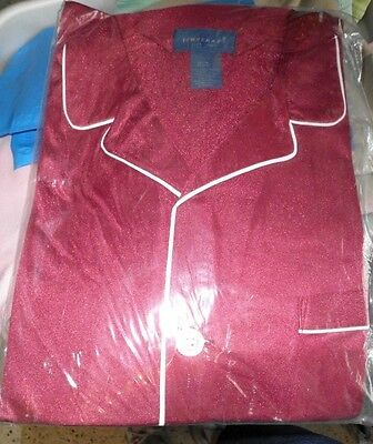 New TownCraft Vintage Men's Pajamas Burgundy with White Piping Nylon Size Med