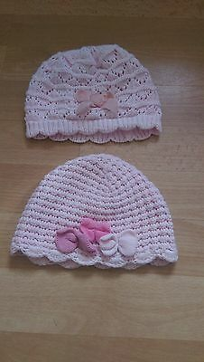 Baby girls Next hats 3-6 months