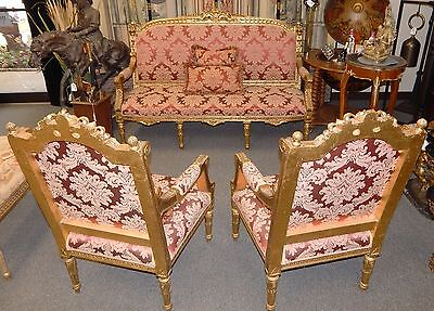 French Louis XVI Style Vintage Giltwood Parlor Settee Sofa and Two Arm Chairs