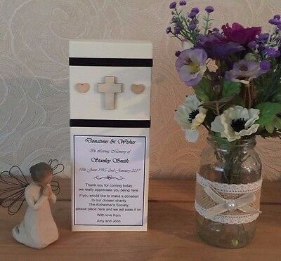 In Memory Memorial Donations Box, Personalised, Wooden Cross & Heart, Any Ribbon