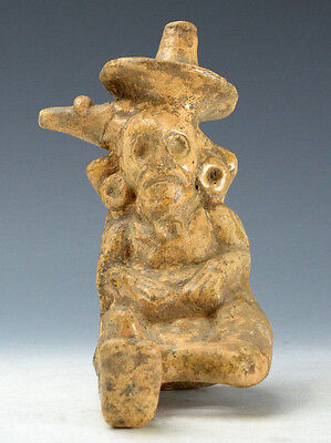 Pre-Columbian Early Maya Seated Deity Figure Ca. 600-900 A.D. Rare Example!