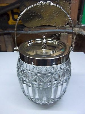 Silver Plate and Glass Biscuit Barrel
