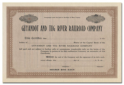 Guyandot and Tug River Railroad Company Stock Certificate (West Virginia)