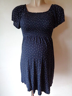 H&m Mama Maternity Navy Polkadot Smocked Tunic Top Size S 8-10