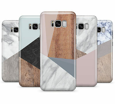Wooden Marble Geometric Hard Mobile Phone Case Cover For Samsung Galaxy S8