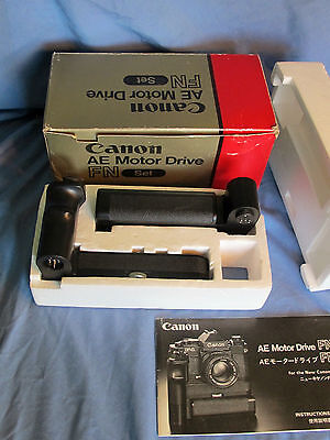 Collector Canon AE Motor Drive FN & Battery Pack FN for NEW F-1 & Mint in Box