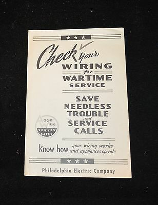 Vintage Check Your Wiring for Wartime Service Philadelphia Electric Company